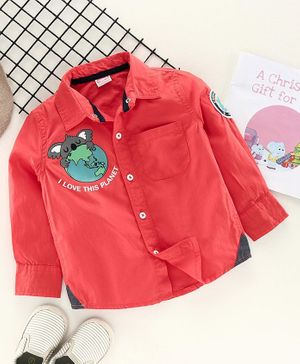 Babyhug Full Sleeves Shirt Koala Print -  Red