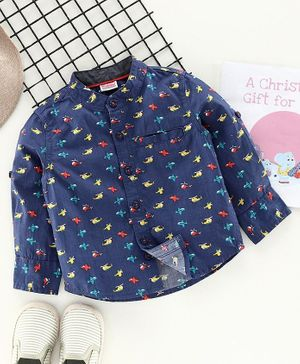 Babyhug Full Sleeves Shirt Aeroplane Print - Blue