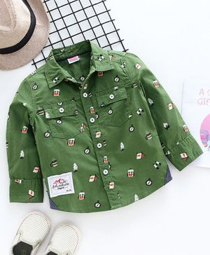 Babyhug Full Sleeves Shirt Multiprint - Green