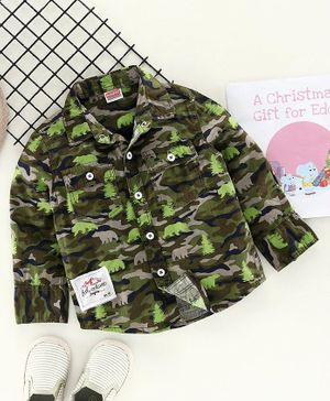 Babyhug Full Sleeves Camouflage Shirt Bear Print - Green