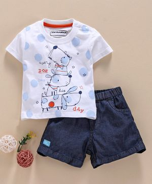 marshmallows Half Sleeves Tee & Shorts Puppy Print - Blue White