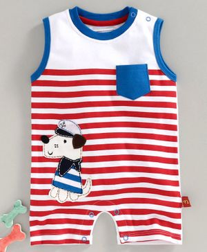 marshmallows Sleeveless Striped Romper Puppy Patch - Red