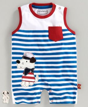 marshmallows Sleeveless Striped Romper Puppy Patch - Blue