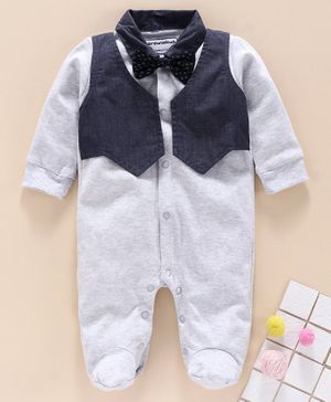 marshmallows Full Sleeves Footed Romper with Attached Waistcoat Bow Applique - Grey Navy Blue