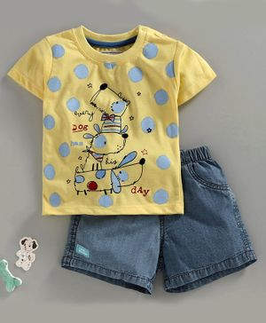 marshmallows Half Sleeves Tee & Shorts Puppy Print - Yellow Blue