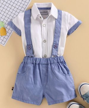 marshmallows Half Sleeves Solid Shirt & Shorts with Suspenders - White Blue