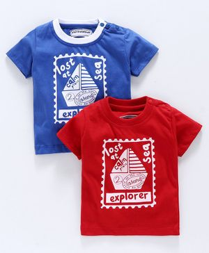 marshmalllows Half Sleeves T-Shirt Boat Print Pack of 2 - Red Blue