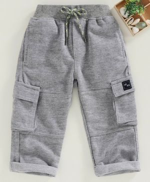 Marshmallow Full Length Solid Color Trousers - Grey