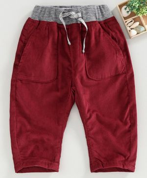 Marshmallow Full Length Corduroy Pants - Maroon