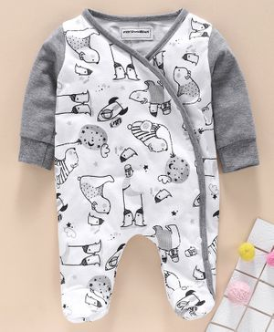 marshmallows Full Sleeves Footed Romper Multiprint - White Light Grey