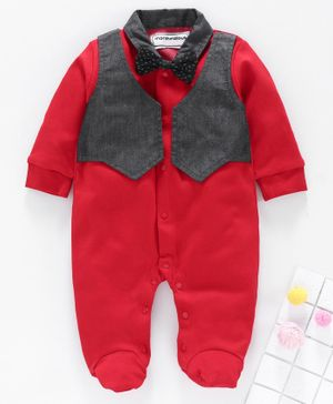 marshmallows Full Sleeves Footed Romper with Attached Waistcoat Bow Applique - Red Navy Blue