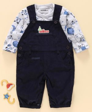 marshmallows Dungaree Style Romper with Full Sleeves Inner Tee Bear Print - Navy Blue