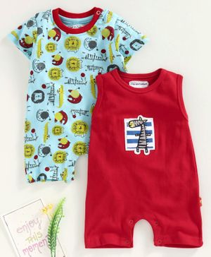 marshmallows Half Sleeves and Sleeveless Romper Animal Print Pack of 2 - Blue Red