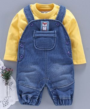 marshmallows Denim Dungaree Romper with Solid Tee - Blue Yellow