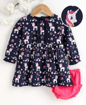 Babyhug Full Sleeves Frock with Bloomer Unicorn Print - Blue Pink