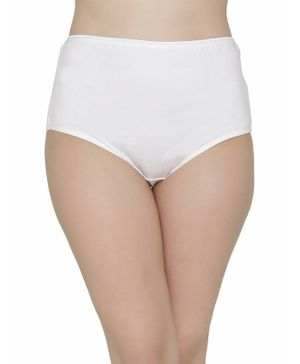 Clovia Solid Colour High Waist Hipster - White