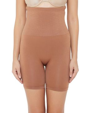 Clovia Solid Colour High Waist Tummy Shaper - Brown