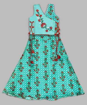Kinder Kids Sleeveless Floral Embroidery Choli With Flared Lehenga Set  - Sea Green