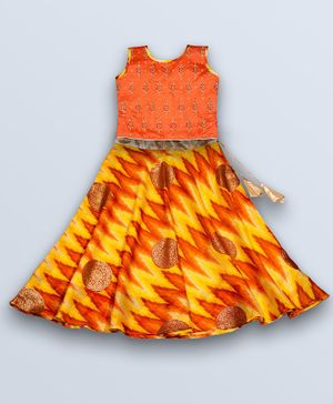 Kinder Kids Zari Kota Lehenga & Sleeveless Flower Embroidered Choli Set - Orange