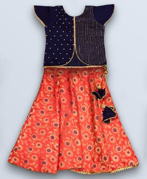 Kinder Kids Cap Sleeves Choli With Flower Printed Benarsi Lehenga Set  - Pink & Blue