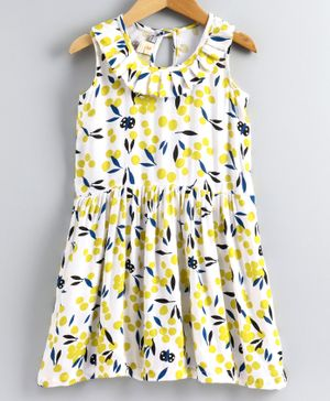 Little LABS Sleeveless Leaves Printed Dress - White & Yellow