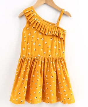 Little LABS Sleeveless Floral Print Pleated Detailing Dress - Yellow