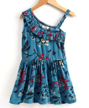 Little LABS Sleeveless Floral Print Pleated Detailing Dress - Blue