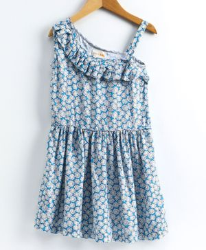 Little LABS Sleeveless Floral Print Pleated Detailing Dress - Light Blue