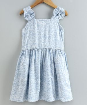 Little LABS Sleeveless Floral Print Dress - Sky Blue