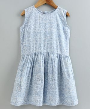 Little LABS Floral Print Sleeveless Dress - Sky Blue