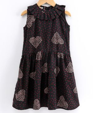 Little LABS Sleeveless Heart Print Detailing Dress - Black