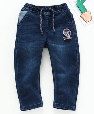 Babyhug Full Length Jeans With Drawstring The Nature Embroidery - Blue