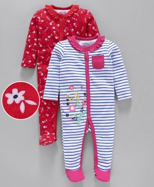 Babyoye Full Sleeves Cotton Footed Sleepsuits Pack of 2 - Red Blue