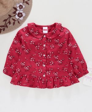 Babyhug Full Sleeves Top Floral Print - Red