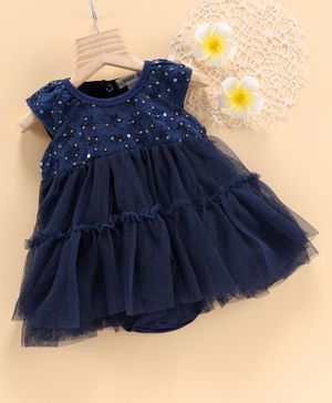 Mark & Mia Short Sleeves Frock Style Onesie Floral Embroidered - Navy Blue