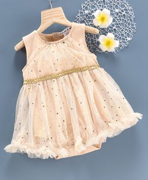Mark & Mia Sleeveless Frock Style Onesie Sequin Belt Detail - Peach