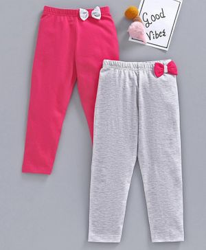 Babyhug Full Length Solid Colour Leggings Bow Applique Pack of 2  - Fuchsia Light Grey