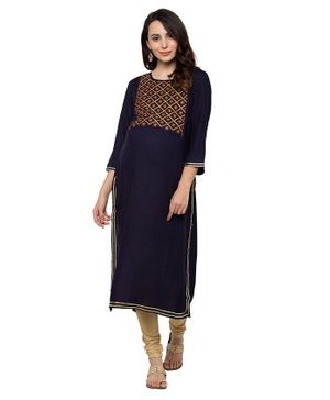 MomToBe Full Sleeves Flower Embroidery Detailing Maternity Kurta - Navy Blue