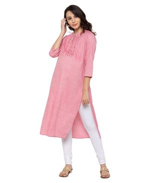 MomToBe Three Fourth Sleeves Thread Work Yoke Detailing Maternity Kurta - Baby Pink