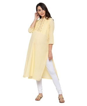 MomToBe Three Fourth Sleeves Thread Work Yoke Detailing Maternity Kurta - Yellow