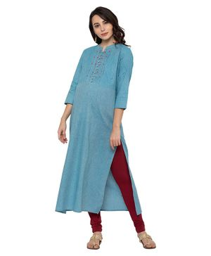 MomToBe Three Fourth Sleeves Thread Work Yoke Detailing Maternity Kurta - Light Blue