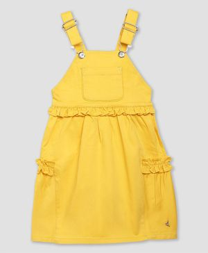 Cherry Crumble By Nitt Hyman Sleeveless Solid Dungaree Style Dress - Yellow