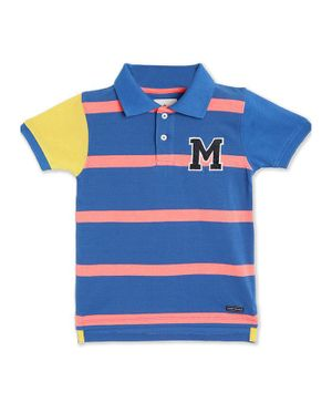 Cherry Crumble By Nitt Hyman Half Sleeves Striped Golf Polo Tee - Multicolor