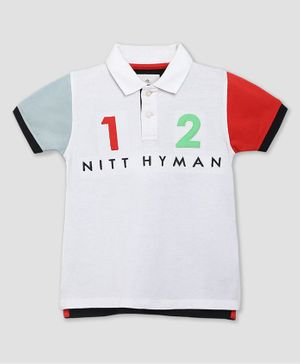 Cherry Crumble By Nitt Hyman Short Sleeves 1 & 2 Patch Falcon Polo T-Shirt - White