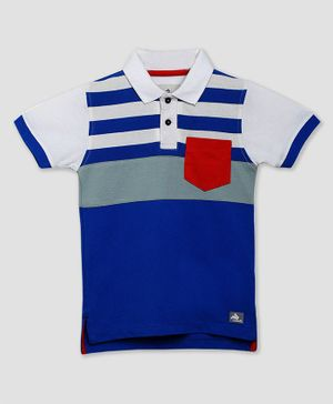 Cherry Crumble By Nitt Hyman Short Sleeves Striped Sailors Polo T-Shirt - Blue & White