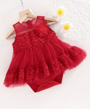 Mark & Mia Sleeveless Embroidered Frock Style Onesie Floral Applique - Red