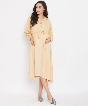 The Kaftan Company Full Sleeves Solid Colour Dress - Beige