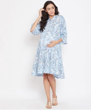 The Kaftan Company Three Fourth Sleeves Floral Print Maternity Dress - Light Blue