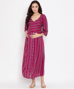 The Kaftan Company Three Fourth Sleeves Striped Maternity Dress - Dark Pink
