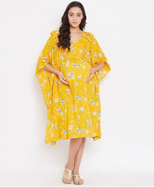 The Kaftan Company Three Fourth Sleeves Daffodil Printed Maternity Kaftan Dress - Yellow